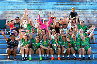 The Manawatu women's team and supporters after winning the cup final. Day two of the 2018 Bayleys National Sevens at Rotorua International Stadium in Rotorua, New Zealand on Sunday, 14 January 2018. Photo: Dave Lintott / lintottphoto.co.nz