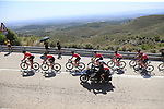 The peloton led by Team Sunweb on Puerto de Alcublas 2nd Cat climb during Stage 5 of La Vuelta 2019 running 170.7km from L'Eliana to Observatorio Astrofisico de Javalambre, Spain. 28th August 2019.<br /> Picture: Eoin Clarke | Cyclefile<br /> <br /> All photos usage must carry mandatory copyright credit (© Cyclefile | Eoin Clarke)