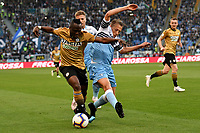 Emmanuel Badu of Udinese and Lucas Leiva of Lazio compete for the ball <br /> Roma 17-4-2019 Stadio Olimpico Football Serie A 2018/2019 SS Lazio - Udinese <br /> Foto Andrea Staccioli / Insidefoto