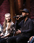 """Eliza Ohman and Donald Webber from the 'Hamilton' cast during a Q & A before The Rockefeller Foundation and The Gilder Lehrman Institute of American History sponsored High School student #EduHam matinee performance of """"Hamilton"""" at the Richard Rodgers Theatre on 5/10/2017 in New York City."""
