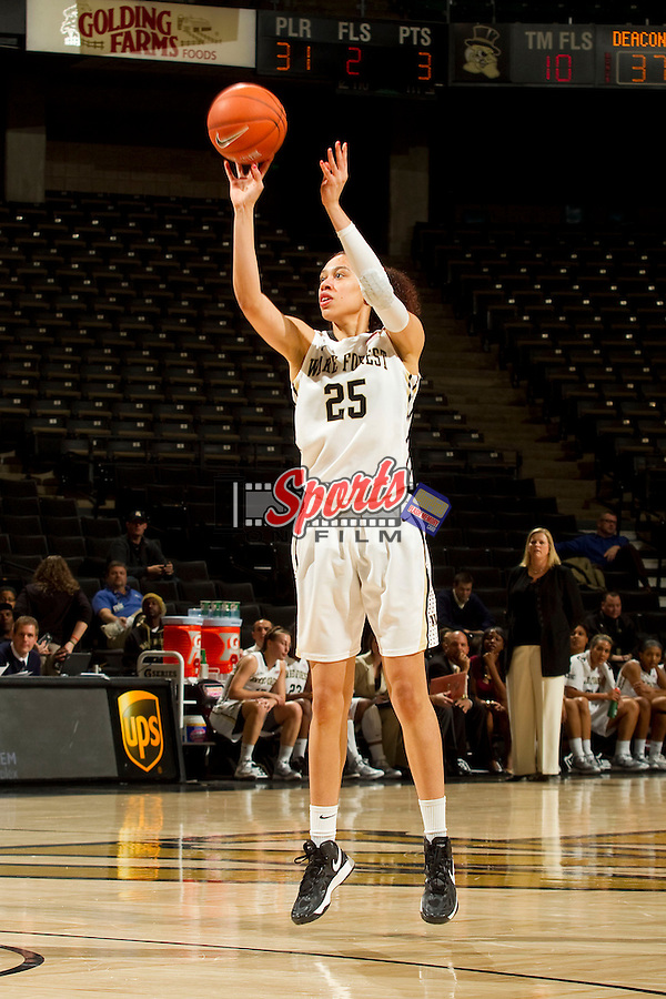 Dearica Hamby (25) of the Wake Forest Demon Deacons attempts a three point shot during first half action against the Miami Hurricanes at the LJVM Coliseum on January 24, 2013 in Winston-Salem, North Carolina.  The Hurricanes defeated the Demon Deacons 79-78.    (Brian Westerholt/Sports On Film)