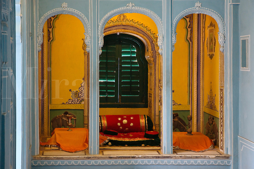 A reclining area in the ZENANA MAHAL or ROYAL HAREM was build in 1620 and housed up to 1150 women in the CITY PALACE of UDAIPUR  - RAJASTHAN, INDIA