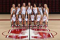 STANFORD, CA - September, 20, 2016: The 2016-2017 Stanford Women's Basketball Team.  Dijonai Carrington (21), Alexa Romano (22), Marta Sniezek (13), Briana Roberson (10), Anna Wilson (3), Mikaela Brewer (14), Karlie Samuelson (44), Erica McCall (24), Alanna Smith (11), Shannon Coffee (2), Kaylee Johnson (5), Nadia Fingall (4), Brittany McPhee (12)