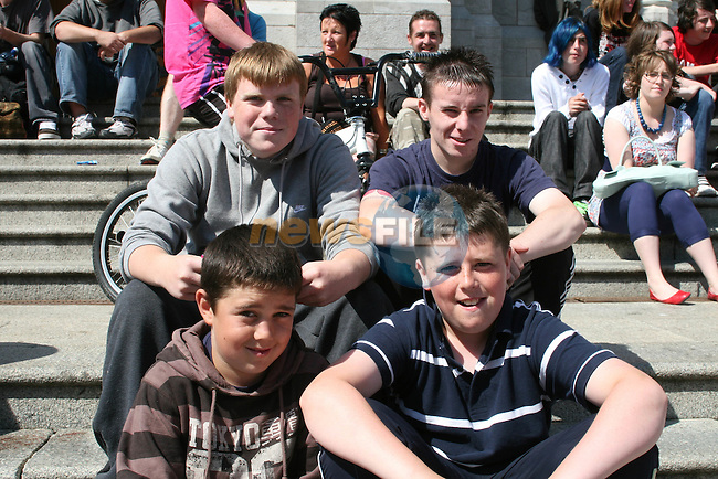 Leo Hughes, Jonathon McCabe, Dylan Reilly and Killian Mulready, Drogheda at the Samba Festival 2009...Photo NEWSFILE/Jenny Matthews.(Photo credit should read Jenny Matthews/NEWSFILE)....This Picture has been sent you under the condtions enclosed by:.Newsfile Ltd..The Studio,.Millmount Abbey,.Drogheda,.Co Meath..Ireland..Tel: +353(0)41-9871240.Fax: +353(0)41-9871260.GSM: +353(0)86-2500958.email: pictures@newsfile.ie.www.newsfile.ie.FTP: 193.120.102.198.