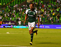 PALMASECA-COLOMBIA,09 -09-2018.John Edison Mosquera  jugador del Deportivo Cali celebra su gol contra  Equidad durante partido por la fecha 9 de la Liga Águila II 2018 jugado en el estadio Deportivo Cali de la ciudad de Palmira./ John Edison Mosquera player of Deportivo Cali  celebrates his goal agaisnt  of Equidad during the match for the date 9 of the Aguila League II 2018 played at Alfonso Lopez  stadium in Palmaseca city. Photo: VizzorImage/ Nelson Rios / Contribuidor
