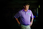 Golfer Jason Dufner poses at the Jack Key Golf Teaching Facility in Auburn, Alabama, July 6, 2012.