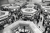 Dealers on the floor of the London Stock Exchange on the day of the 'Big Bang' deregulation of financial services by the Thatcher government.