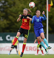 20170914 - TUBIZE ,  BELGIUM : Belgian Nicky Van Den Abbeele (left) pictured in a duel with Dutch Vanity Lewerissa (r) during the friendly female soccer game between the Belgian Red Flames and European Champion The Netherlands , a friendly game in the preparation for the World Championship qualification round for France 2019, Thurssday 14 th September 2017 at Euro 2000 Center in Tubize , Belgium. PHOTO SPORTPIX.BE | DAVID CATRY