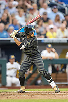 Vanderbilt Commodores third baseman Austin Martin (16) at bat against the Michigan Wolverines during Game 2 of the NCAA College World Series Finals on June 25, 2019 at TD Ameritrade Park in Omaha, Nebraska. Vanderbilt defeated Michigan 4-1. (Andrew Woolley/Four Seam Images)