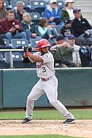 Sherman Lacrus (3) of the Spokane Indians bats during a game against the Everett AquaSox at Everett Memorial Stadium on July 24, 2015 in Everett, Washington. Everett defeated Spokane, 8-6. (Larry Goren/Four Seam Images)