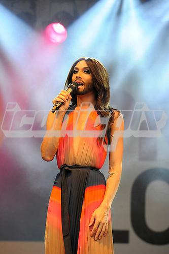 CONCHITA WURST - the 2014 Eurovision Winner from Austria - performing live at Pride London in Trafalgar Square London UK - 28 Jun 2014.  Photo credit: Zaine Lewis/IconicPix