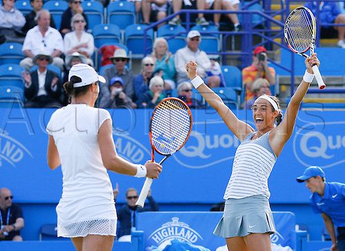 27.06.2015 Eastbourne, England. Aegon International Eastbourne Tennis Tournament Caroline Garcia (FRA) and Katarina Serbotnil (SLO) celebrate after winning the Women's doubles final against Zheng Jie and Chan Yung-Jan  at Devonshire park.