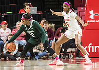 COLLEGE PARK, MD - FEBRUARY 03: Kaila Charles #5 of Maryland blocks Nia Hollie #12 of Michigan State during a game between Michigan State and Maryland at Xfinity Center on February 03, 2020 in College Park, Maryland.