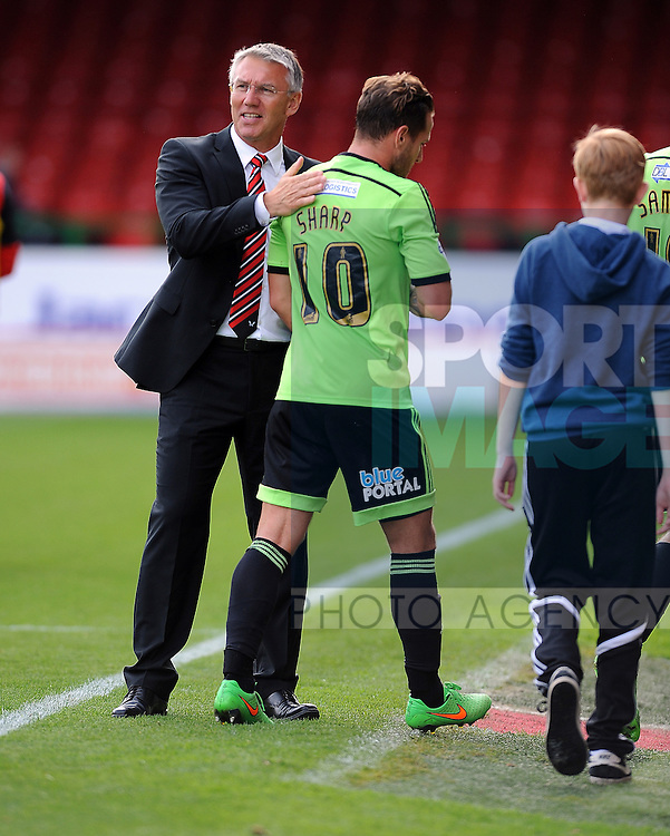 Sheffield United Manager Nigel Adkins congratulates Billy Sharp of Sheffield United at the end of the game<br /> - Sky Bet League One - Swindon Town vs Sheffield United - The County Ground - Swindon - England - 29th August 2015 <br /> --------------------
