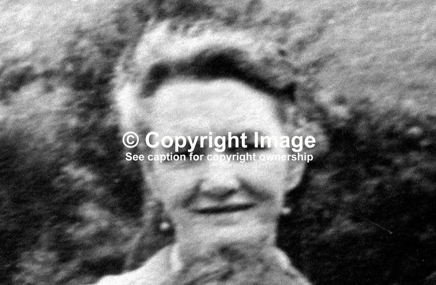 Mrs Margaret O'Neill, from Maralin Street, who was killed when gunmen sprayed bullets at random as they drove along the New Lodge Road, Belfast, N Ireland, 14th June 1975. One other person was seriously injured. A passing British Army Parachute Regiment mobile patrol heard the shooting and gave chase halting it in the Tiger Bay area. In February 1976 four men from  the Woodvale Defence Association were given life sentences. 197506140485a..Copyright Image from Victor Patterson, 54 Dorchester Park, Belfast, UK, BT9 6RJ..Tel: +44 28 9066 1296.Mob: +44 7802 353836.Voicemail +44 20 8816 7153.Skype: victorpattersonbelfast.Email: victorpatterson@me.com.Email: victorpatterson@ireland.com (back-up)..IMPORTANT: If you wish to use this image or any other of my images please go to www.victorpatterson.com and click on the Terms & Conditions. Then contact me by email or phone with the reference number(s) of the image(s) concerned.