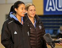 14.07.2014 Maria Tutaia and Cathrine Latu -  at the Silver Ferns train in Auckland ahead of them leaving for the Commonwealth Games. Mandatory Photo Credit ©Michael Bradley.
