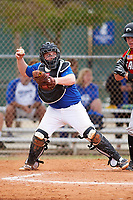 Illinois College Blueboys catcher Eli Fox (10) throws down to second base during a game against the Edgewood Eagles on March 14, 2017 at Terry Park in Fort Myers, Florida.  Edgewood defeated Illinois College 11-2.  (Mike Janes/Four Seam Images)