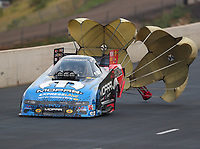 Jul 21, 2018; Morrison, CO, USA; NHRA funny car driver Matt Hagan during qualifying for the Mile High Nationals at Bandimere Speedway. Mandatory Credit: Mark J. Rebilas-USA TODAY Sports