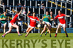 Sarah Houlihan Kerry shoots for goal past  Cork defenders Annie walsh Eimear Meaney Roisin Phelan during their Munster Championship clash in Fitzgerald Stadium on Saturday evening