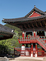 Trommelturm, buddhistischer Hwaeomsa Tempel in Jirisan Nationalpark, Provinz Jeollanam-do, Südkorea, Asien<br /> drum-tower, buddhist Hwaeomsa temple in Jirisan national park, province Jeollanam-do, South Korea, Asia