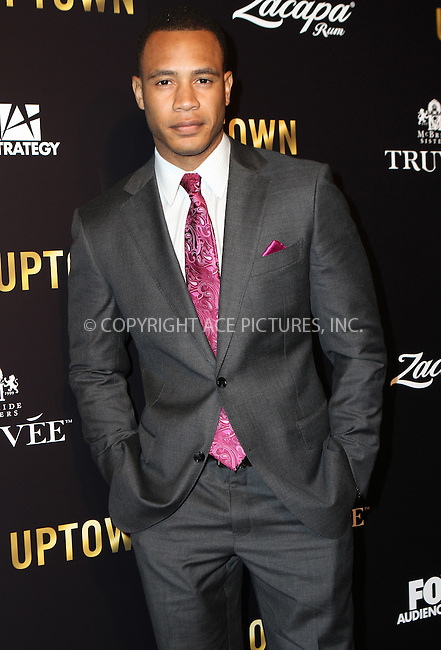WWW.ACEPIXS.COM<br /> <br /> February 19 2915, LA<br /> <br /> Trai Byers arriving at the Uptown Pre-Oscar Gala honoring Lee Daniels on February 19 2015 in LA<br /> <br /> By Line: Nancy Rivera/ACE Pictures<br /> <br /> <br /> ACE Pictures, Inc.<br /> tel: 646 769 0430<br /> Email: info@acepixs.com<br /> www.acepixs.com