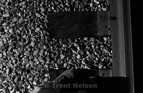 Trent feet and railroad track and rocks<br />