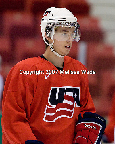 Jonathon Blum (US/Vancouver Giants - Rancho Santa Margarita, CA) - USA's Team White practices on Friday, August 10, 2007, morning in the 1980 Rink at Lake Placid, New York during the Summer Hockey Challenge.