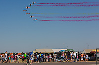 C-101 aircrafts of the Patrulla Aguila squadron of the Spanish Airforce perform during the International Air Show at the Hungarian Air Force base in Kecskemet (about 87 km South-East of the capital city Budapest), Hungary on August 03, 2013. ATTILA VOLGYI