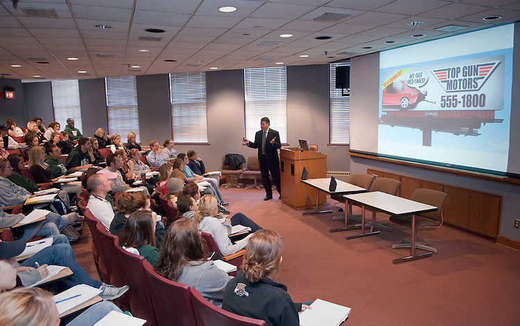 Jeff Day, General Sales Manager from LAMAR Advertising, gives lecture on outdoor advertising to Craig Davis's class in Scripps 111 on Tuesday, Oct. 6th.
