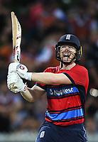 England captain Eoin Morgan hits a 6.<br /> New Zealand Black Caps v England.Tri-Series International Twenty20 cricket. Eden Park, Auckland, New Zealand. Sunday 18 February 2018. &copy; Copyright Photo: Andrew Cornaga / www.Photosport.nz
