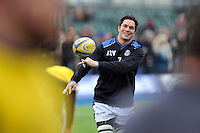 Francois Louw of Bath Rugby passes the ball. Aviva Premiership match, between Saracens and Bath Rugby on February 15, 2015 at Allianz Park in London, England. Photo by: Patrick Khachfe / Onside Images