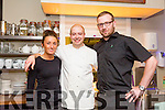 Staff at DB's Denny with a warm welcome  front l-r Emma Corkery, Paul Stewart and Joseph Sebest.