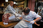 Staffs of Sushi-Zanmai, Kiyoshi Kimura (C), cut a 278kg bluefin tuna at his main restaurant near Tokyo's Tsukiji fish market on January 5, 2018. A record $3.1 million was paid for a giant tuna on January 5 at Tokyo's new fish market called Toyosu, which replaced the world-famous Tsukiji late last year, held its first pre-dawn New Year's auction. January 05, 2019 (Photo by Nicolas Datiche/AFLO) (JAPAN)