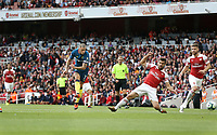 West Ham United's Marko Arnautovic scores his side's first goal  <br /> <br /> Photographer Rob Newell/CameraSport<br /> <br /> The Premier League - Arsenal v West Ham United - Saturday August 25th 2018 - The Emirates - London<br /> <br /> World Copyright © 2018 CameraSport. All rights reserved. 43 Linden Ave. Countesthorpe. Leicester. England. LE8 5PG - Tel: +44 (0) 116 277 4147 - admin@camerasport.com - www.camerasport.com