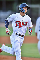 Elizabethton Twins left fielder Mark Contreras (5) rounds the bases after hitting a home run during game one of the Appalachian League Championship Series against the Pulaski Yankees at Joe O'Brien Field on September 7, 2017 in Elizabethton, Tennessee. The Twins defeated the Yankees 12-1. (Tony Farlow/Four Seam Images)