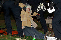 Nov. 30, 2011 - Charlottesville, Virginia - USA;  Charlottesville occupiers were arrested late Wednesday night after their special-event permit expired and police resumed enforcement of the 11 p.m. curfew in Lee park. (Credit Image: © Andrew Shurtleff)