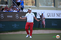 Andy Sullivan (ENG) has the bravery to birdie the last to draw level with Danny Willett (ENG) and force a play-off during the Final Round of the 2016 Omega Dubai Desert Classic, played on the Emirates Golf Club, Dubai, United Arab Emirates.  07/02/2016. Picture: Golffile | David Lloyd<br /> <br /> All photos usage must carry mandatory copyright credit (&copy; Golffile | David Lloyd)