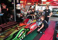 May 22, 2011; Topeka, KS, USA: NHRA top fuel dragster driver Terry McMillen during the Summer Nationals at Heartland Park Topeka. Mandatory Credit: Mark J. Rebilas-