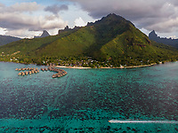 WM90296-D. Aerial view of Moorea Island, considered by many to be one of the most beautiful tropical islands in the world. Society Islands, French Polynesia, Pacific Ocean.<br /> Photo Copyright © Brandon Cole. All rights reserved worldwide.  www.brandoncole.com