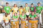 BEAT THE RYTHEM: The Samba Cuisle band taking part in the Ballyheigue Summer Festival parade on Sunday front l-r: Desire Busingye, Elayne Van Kenlen, Marie McCarthy and Michael Flaherty. Back l-r: Francis Meehan, Maria O'Connor, Keshi Chung, Matt Hodd, Tanya Hickey and Ted Moynihan.