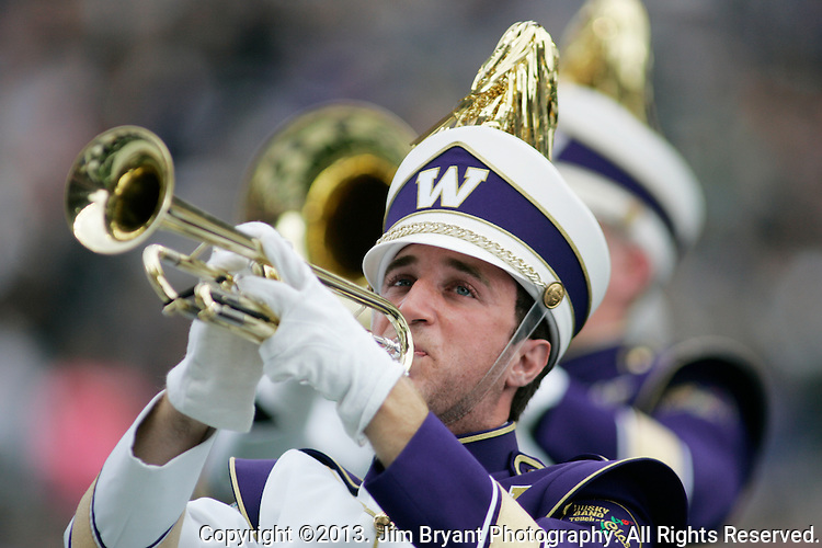 Washington Huskies band performs in a college football game at Husky Stadium in Seattle, Washington on October 12, 2013. The Oregon Ducks beat the Washington Huskies 45-24.  © 2013. Jim Bryant Photo. All Rights Reserved.