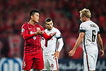 Shanghai FC Midfielder Cai Huikang (L) reacts with Sydney Wanderers Midfielder Mitch Nichols (R) during the AFC Champions League 2017 Group F match between Shanghai SIPG FC (CHN) vs Western Sydney Wanderers (AUS) at the Shanghai Stadium on 28 February 2017 in Shanghai, China. Photo by Marcio Rodrigo Machado / Power Sport Images