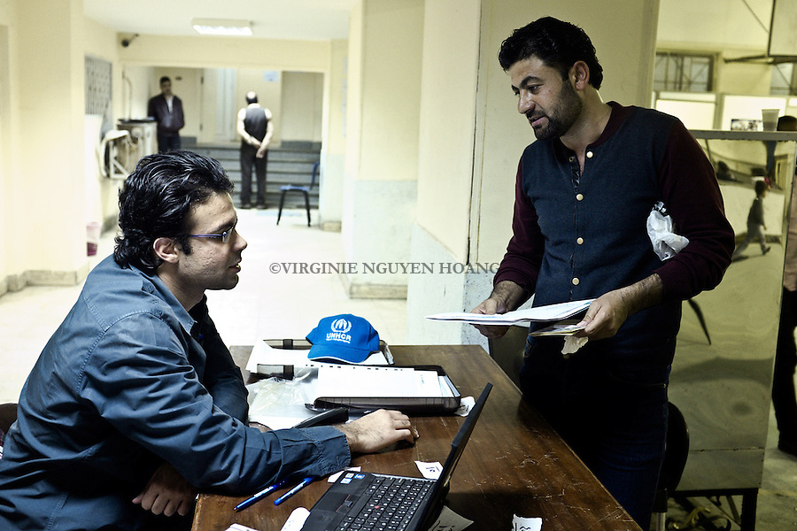 Egypt, Zamalek: Abu Ali is at the UNHCR office of Cairo to arrange some papers for his residency. <br /> <br /> Egypte, Zamalek: Abu Ali est au bureau de l'UNHCR pour arranger des papiers pour sa r&eacute;didence.