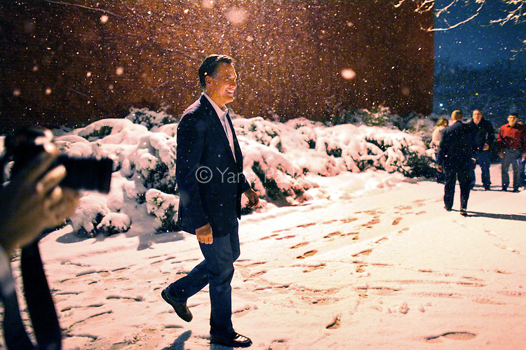 Republican Presidential candidate Mitt Romney (R-MA) leaves Western MIchigan University after speaking there, in Kalamazoo, Michigan on Friday, February 24, 2012. (Photo by Yana Paskova for The New York Times)