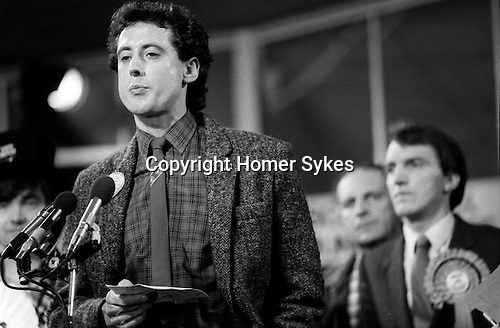 Peter Tatchell election night,  he lost to Simon Hughes ( seen in background ) south London 1983. UK...Bermondsey by-election