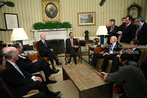United States President Barack Obama holds a meeting in the Oval Office of the White House in Washington, D.C. on April; 14, 2011 with Vice President Joe Biden, Secretary of Treasury Timothy Geithner, Erskine Bowles and Alan Simpson, the co-chairs of President Obama's National Commission on Fiscal Responsibility and Reform..Credit: Gary Fabiano / Pool via CNP