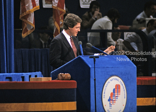 Governor Bill Clinton (Democrat of Arkansas) makes remarks at the 1980 Democratic National Convention in Madison Square Garden in New York, New York on August 13, 1980.<br /> Credit: Howard L. Sachs / CNP