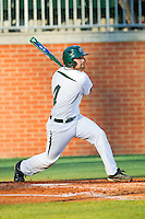 Patrick Raley (4) of the Charlotte 49ers follows through on his swing against the Delaware State Hornets at Robert and Mariam Hayes Stadium on February 15, 2013 in Charlotte, North Carolina.  The 49ers defeated the Hornets 13-7.  (Brian Westerholt/Four Seam Images)