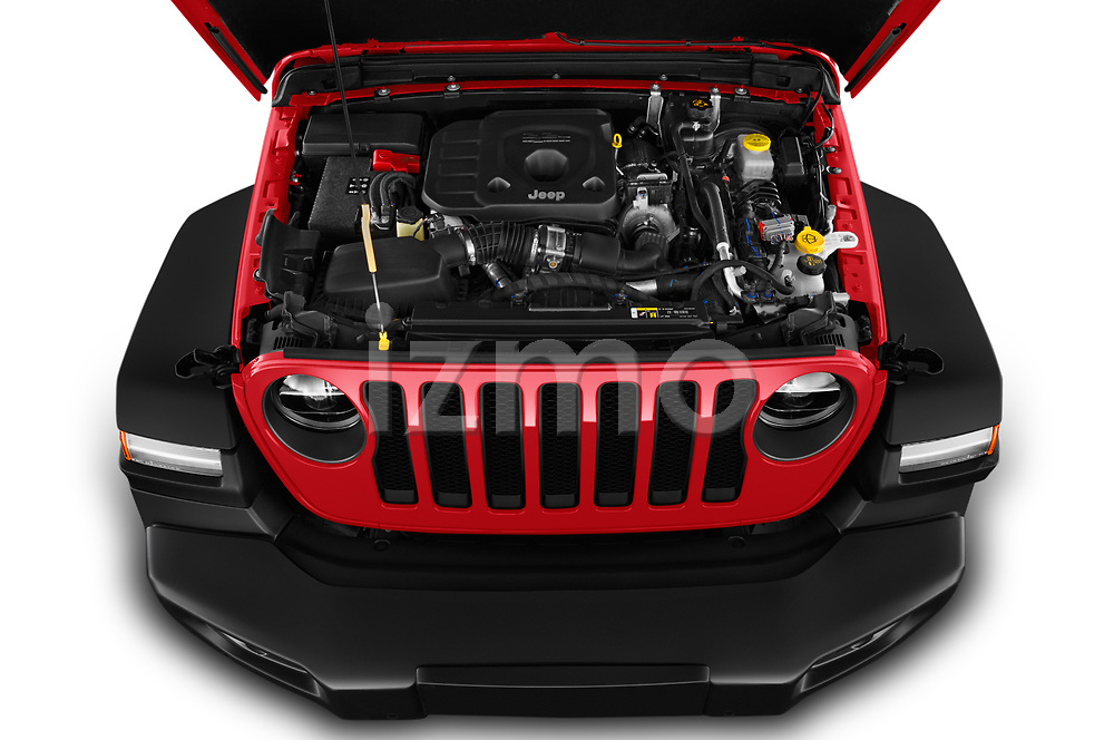 Car Stock 2019 JEEP Wrangler Rubicon 5 Door SUV Engine  high angle detail view
