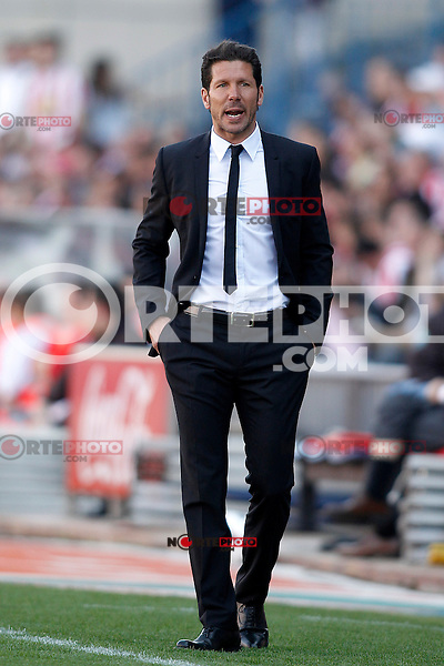Atletico de Madrid's coach Diego Pablo Cholo Simeone during La Liga match.April 14,2013. (ALTERPHOTOS/Acero)